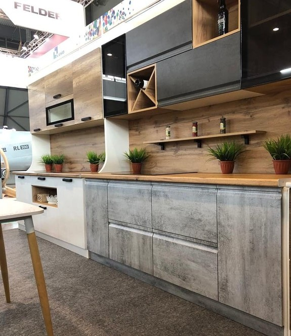 кухни дерево бетон